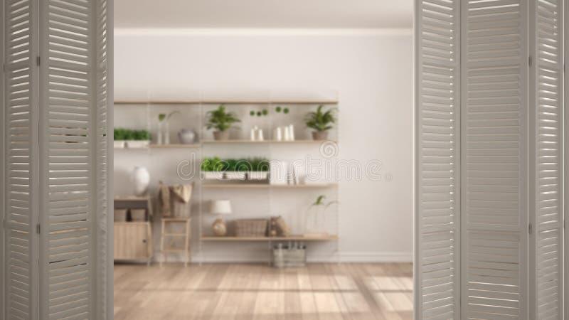 在现代空的空间与书架,白色室内设计,建筑师设计师概念,迷离的白色折叠门开头 免版税库存图片