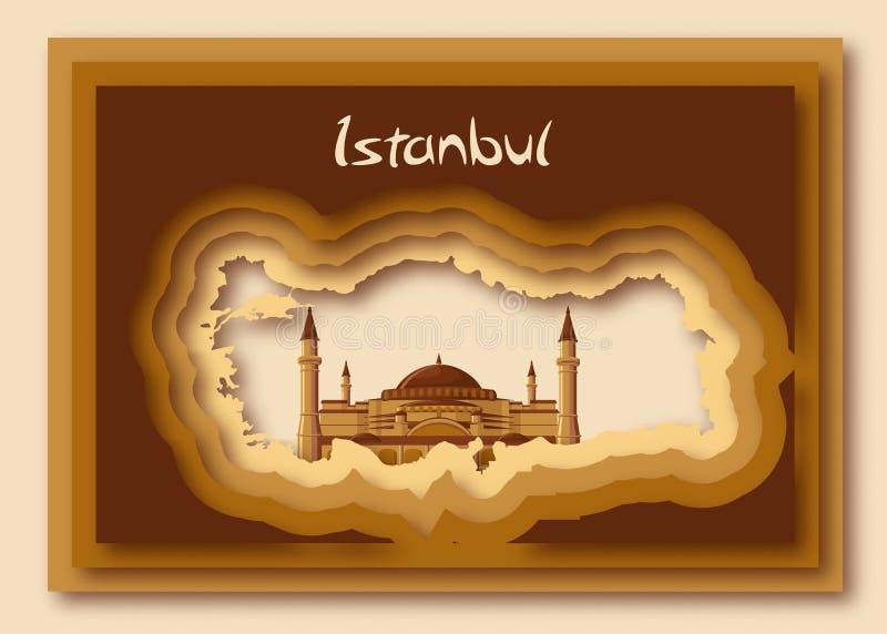 在现代纸的土耳其地图剪影删去了与Hagia索非亚和词伊斯坦布尔的样式 向量例证
