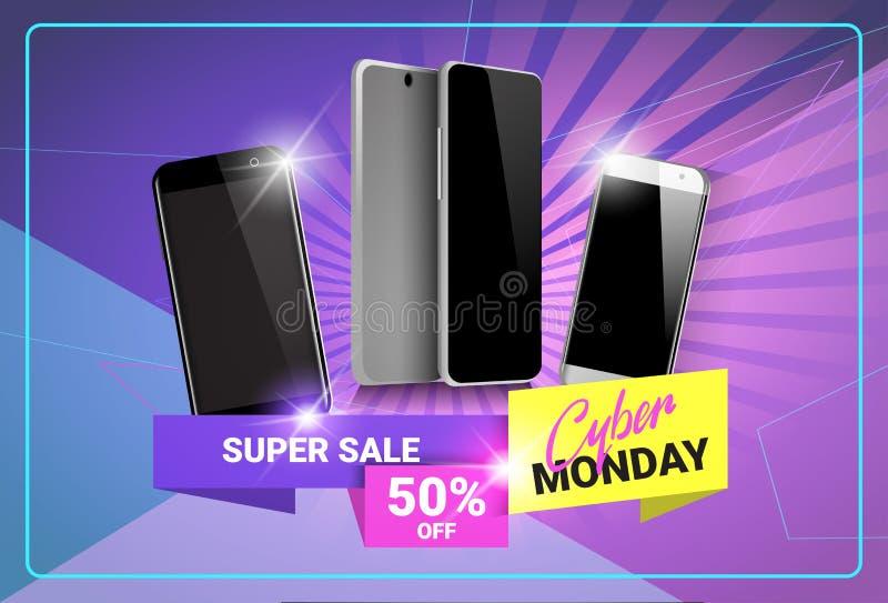 在现代聪明的电话横幅设计的网络星期一超级销售海报折扣 库存例证
