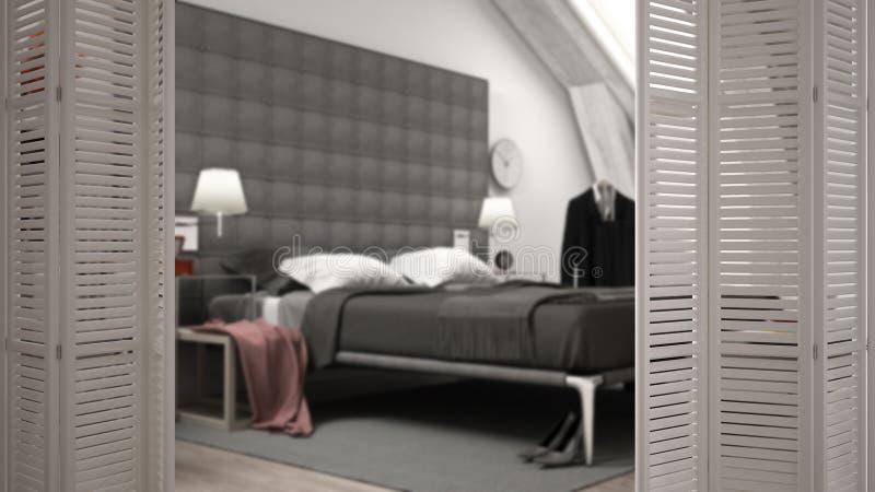 在现代豪华当代卧室的白色折叠门开头,室内设计,建筑师设计师概念,迷离背景 库存图片