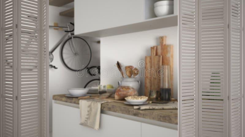 在现代豪华当代白色厨房的白色折叠门开头,室内设计,建筑师设计师概念,迷离 免版税库存照片