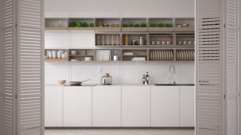在现代豪华当代minimalistic白色和木厨房,室内设计,建筑师designe的白色折叠门开头 免版税库存照片
