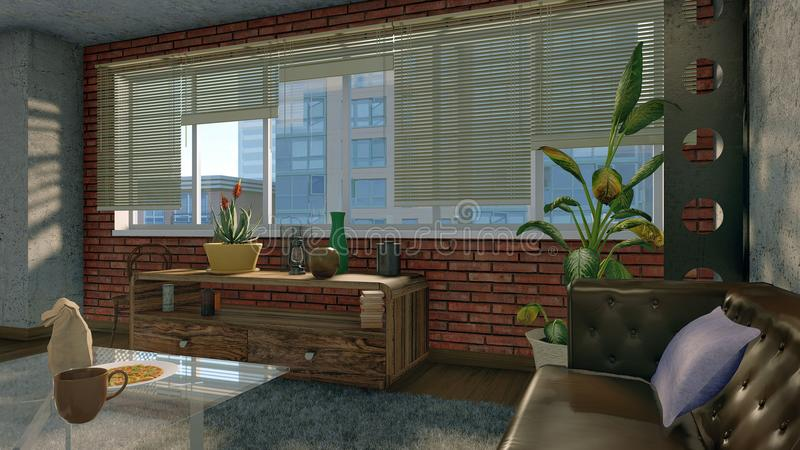 在现代顶楼公寓内部的大窗口 皇族释放例证