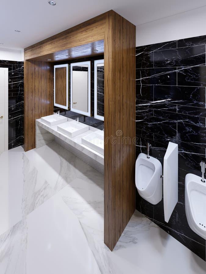 在现代风格的现代公共厕所与木适当位置和黑大理石墙壁 向量例证
