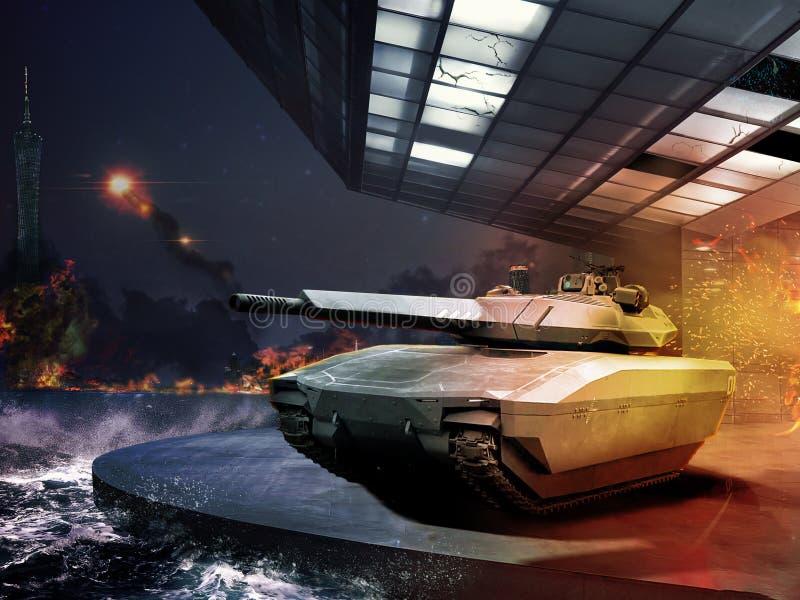 在现代争斗的坦克 图库摄影
