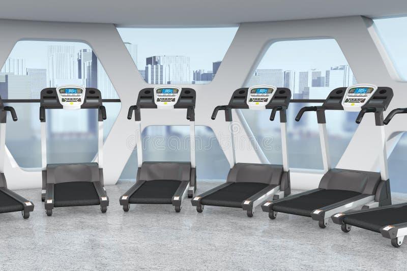 在现代健身房室健身中心内部的踏车与双的 库存例证
