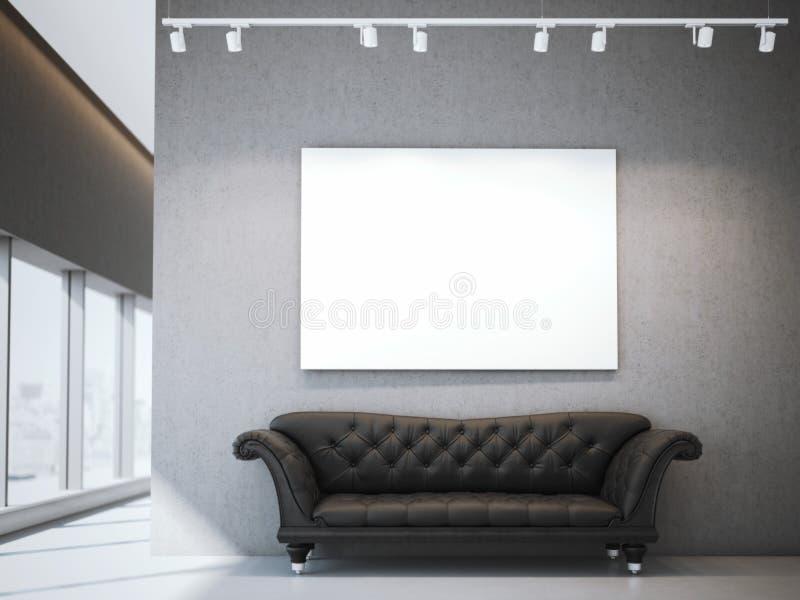 在现代内部的白色帆布和豪华沙发 3d翻译 向量例证