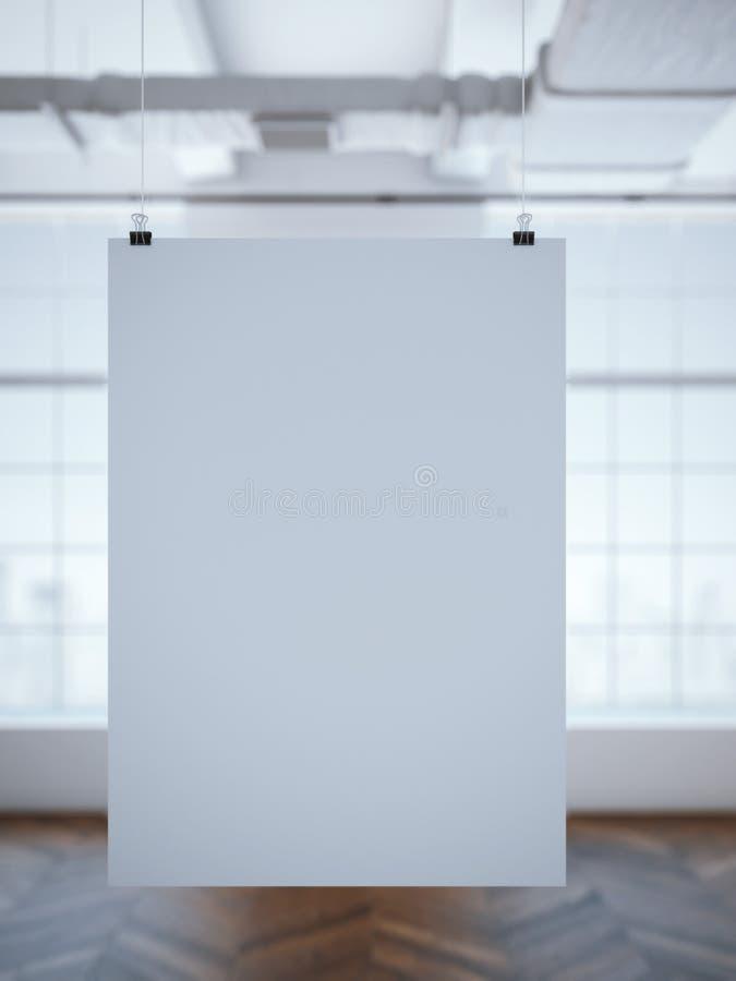在现代内部的白色海报 3d翻译 皇族释放例证