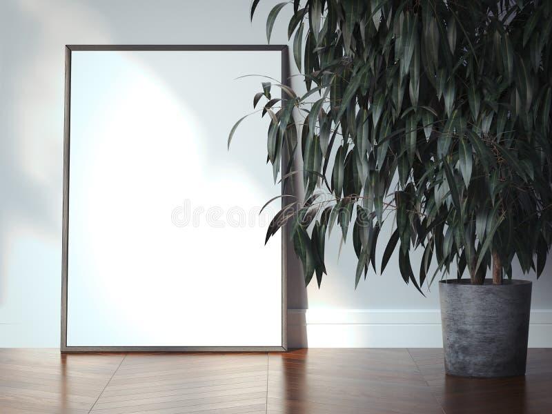 在现代内部的白色画框 3d翻译 向量例证