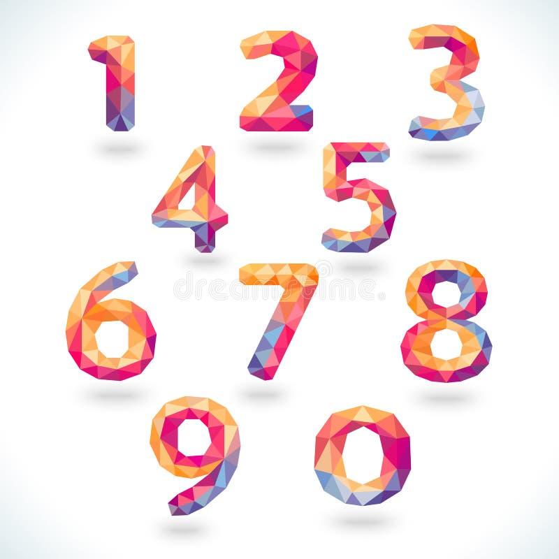 在现代多角形水晶样式设置的数字 皇族释放例证