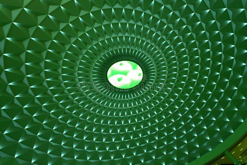 在现代大厦圆上面的几何样式由绿色被带领的光,风景照明设备点燃了 免版税库存照片