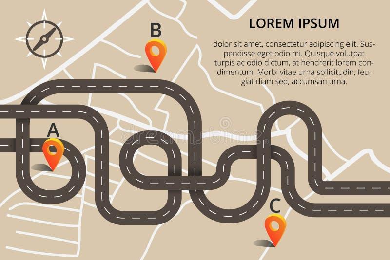 在现代平的设计的许多弯曲道路 传染媒介例证加州 向量例证