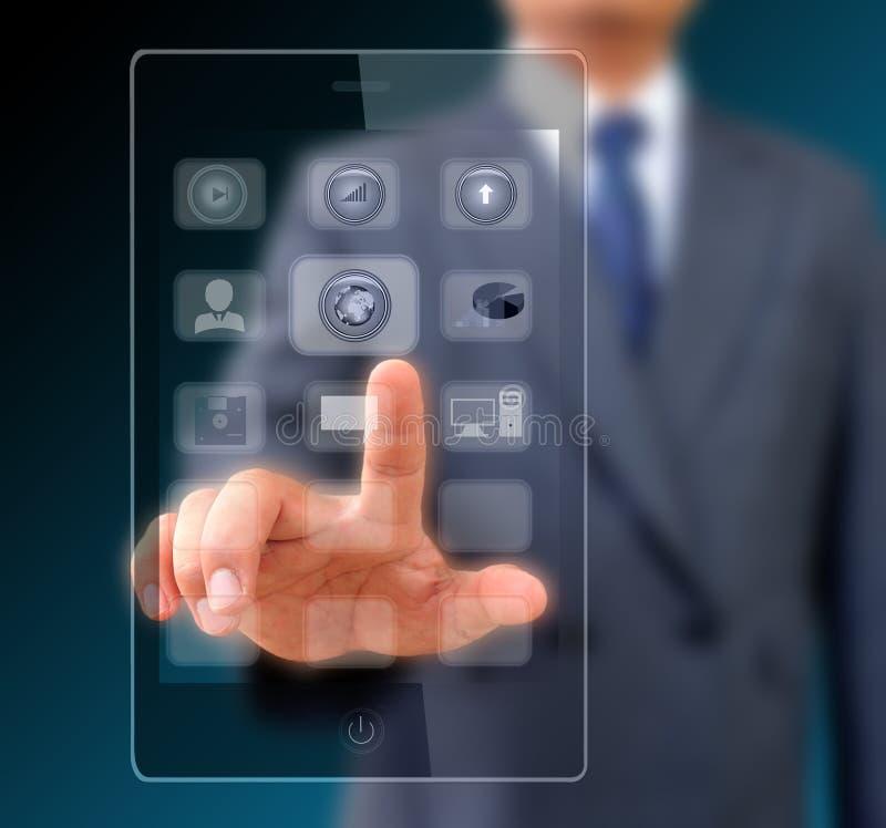 在现代流动巧妙的电话的触摸屏 库存照片