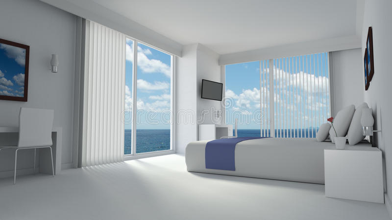 在现代被设计的样式的豪华hotelroom 库存例证