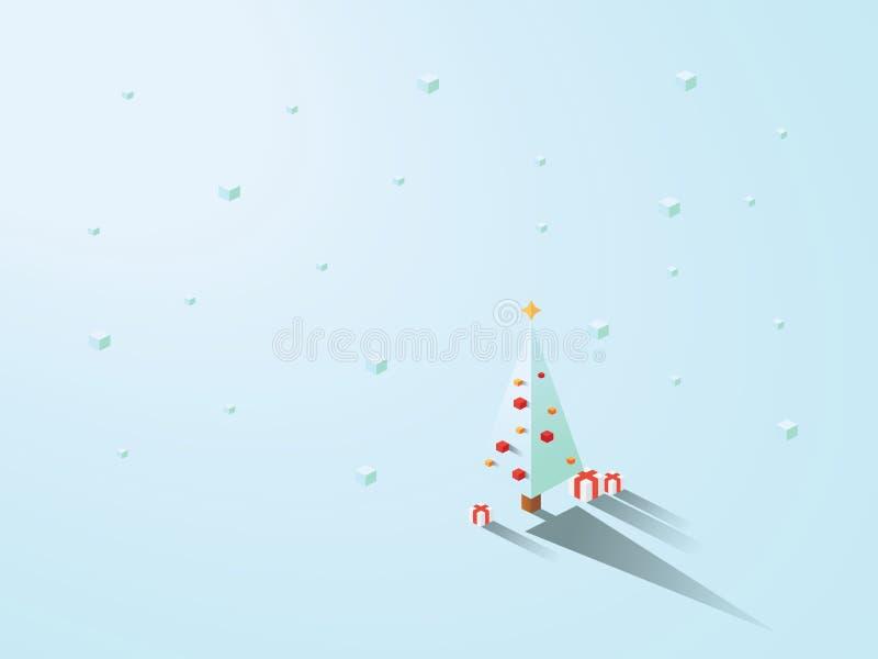 在现代minimalistic等量多角形几何样式的圣诞树 与下雪的白色背景 库存例证
