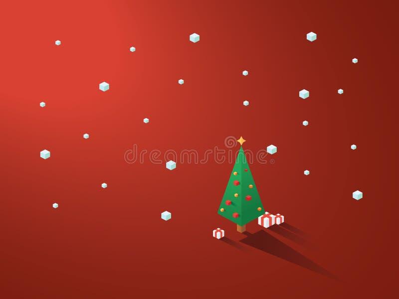 在现代minimalistic等量多角形几何样式的圣诞树 与下雪的白色背景 皇族释放例证