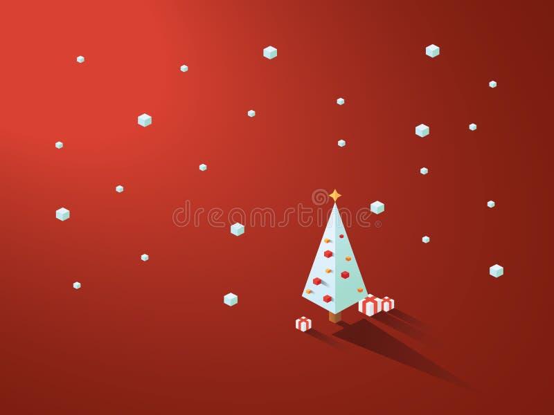 在现代minimalistic等量多角形几何样式的圣诞树 与下雪的红色背景 皇族释放例证