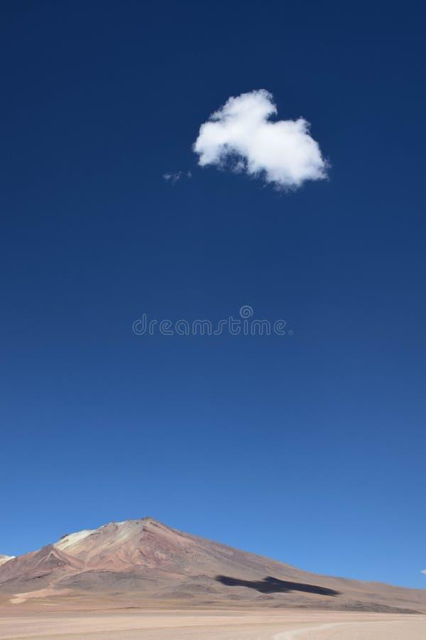 在玻利维亚的沙漠的一朵唯一云彩 免版税库存照片