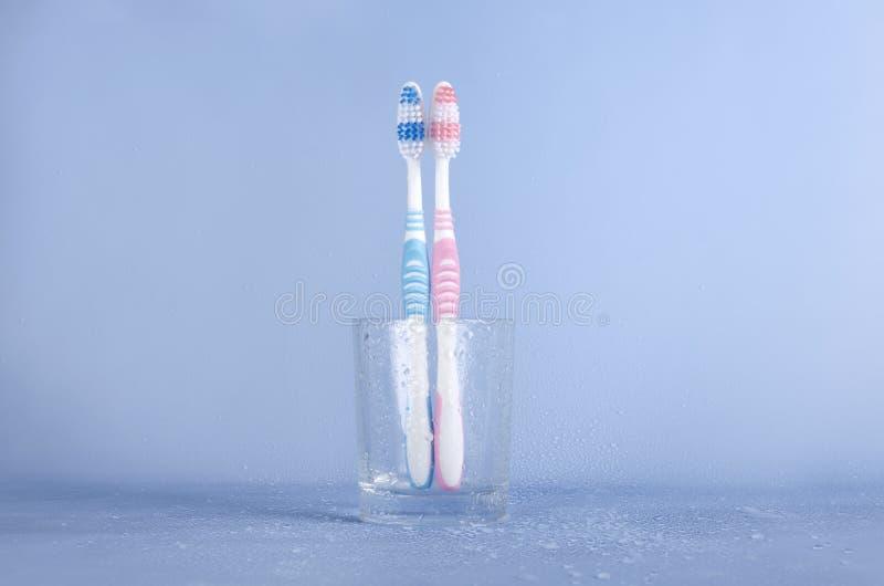 在玻璃杯子的两把牙刷湿蓝色表面上 库存图片