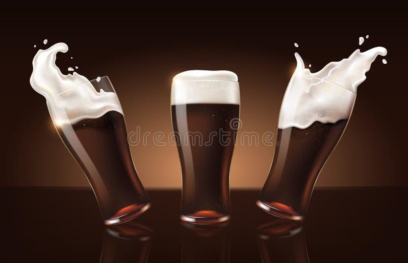 在玻璃杯子,与白色泡沫的刷新的饮料的被设置的黑暗的搬运工啤酒在3d例证,飞溅啤酒集合 皇族释放例证