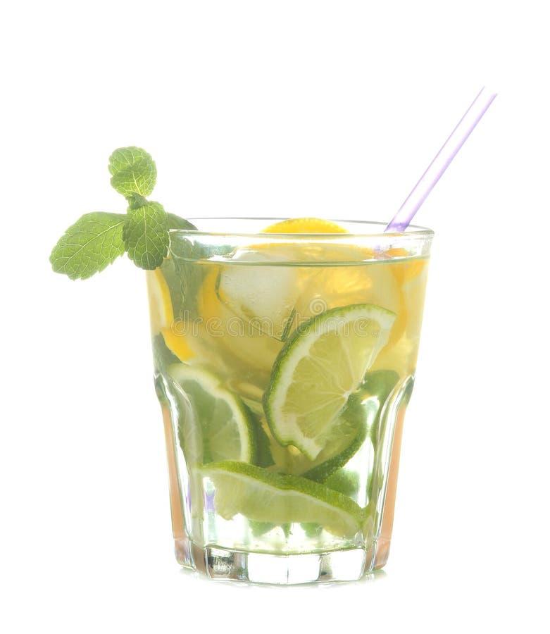 在玻璃玻璃的mojito鸡尾酒与石灰、薄菏和柠檬在白色被隔绝的背景 免版税库存照片