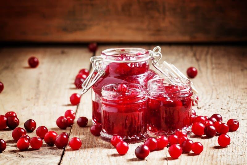 在玻璃瓶子和新鲜的蔓越桔的可口蔓越桔果酱在  免版税图库摄影