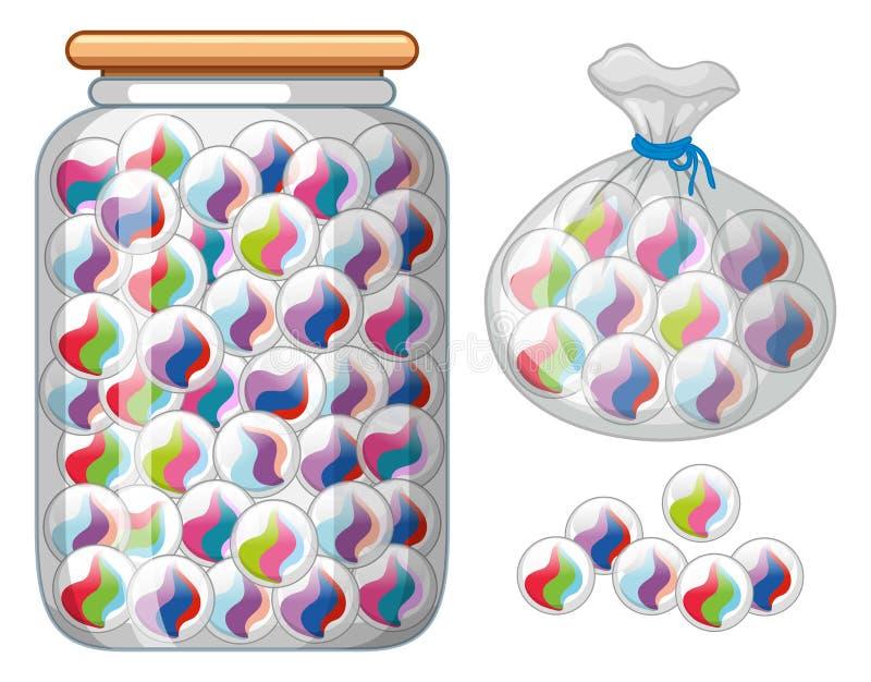 在玻璃瓶子和袋子的大理石 库存例证