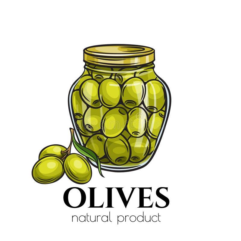 在玻璃瓶子的罐装橄榄 皇族释放例证