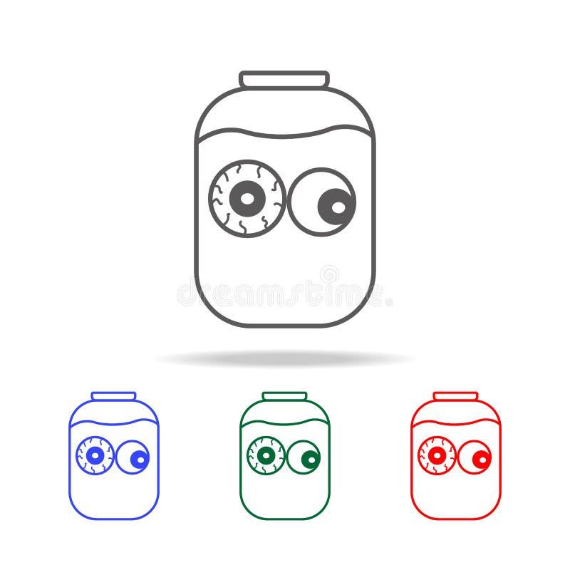 在玻璃瓶子象的人的眼珠 万圣夜的元素在多色的象的 优质质量图形设计象 简单的象f 向量例证