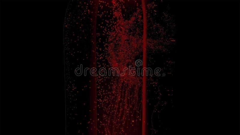 在玻璃瓶有水下落的和泡影的五颜六色的水在黑暗的背景 免版税库存图片