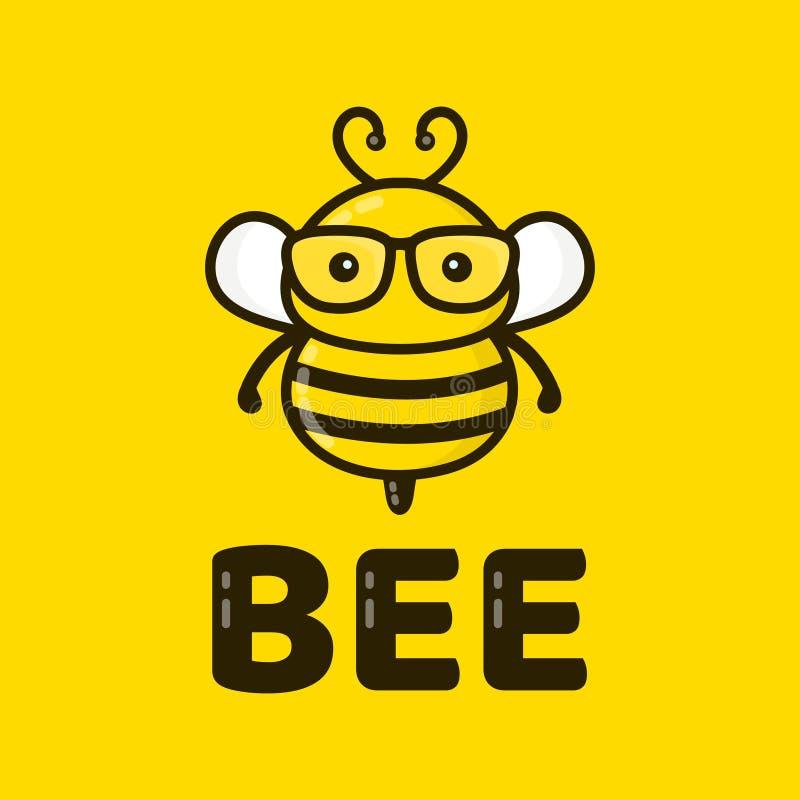 在玻璃的乐趣逗人喜爱的聪明的蜂 向量 皇族释放例证
