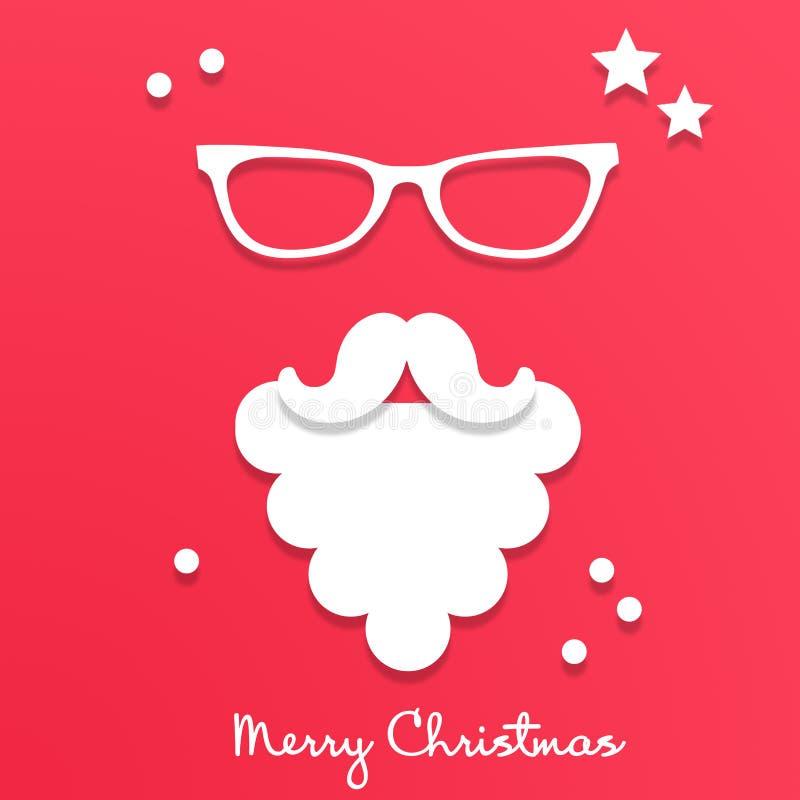 在玻璃的圣诞老人项目在红色背景 有白色胡须和髭的圣诞老人在origami样式 皇族释放例证
