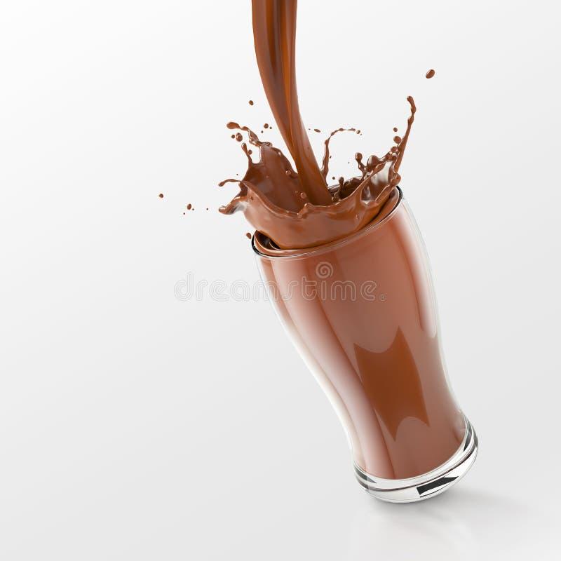 在玻璃的新鲜的巧克力飞溅 库存例证