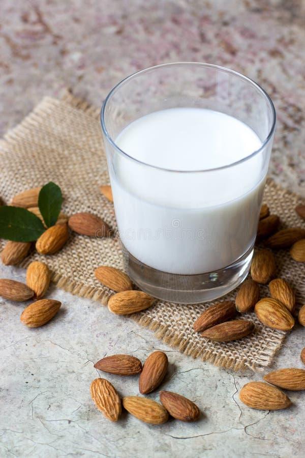 在玻璃的杏仁牛奶 有机素食主义者牛奶 免版税图库摄影