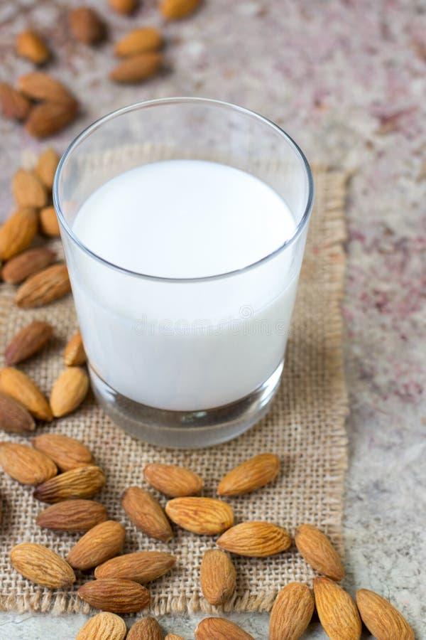 在玻璃的杏仁牛奶 有机素食主义者牛奶 库存图片