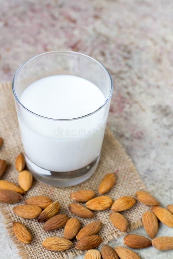 在玻璃的杏仁牛奶 有机素食主义者牛奶 库存照片