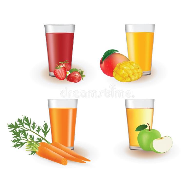 在玻璃的果汁 向量例证