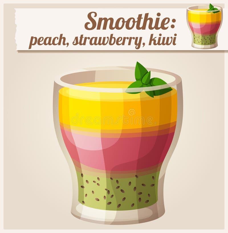 在玻璃的桃子、草莓和猕猴桃圆滑的人 详细的传染媒介象 向量例证