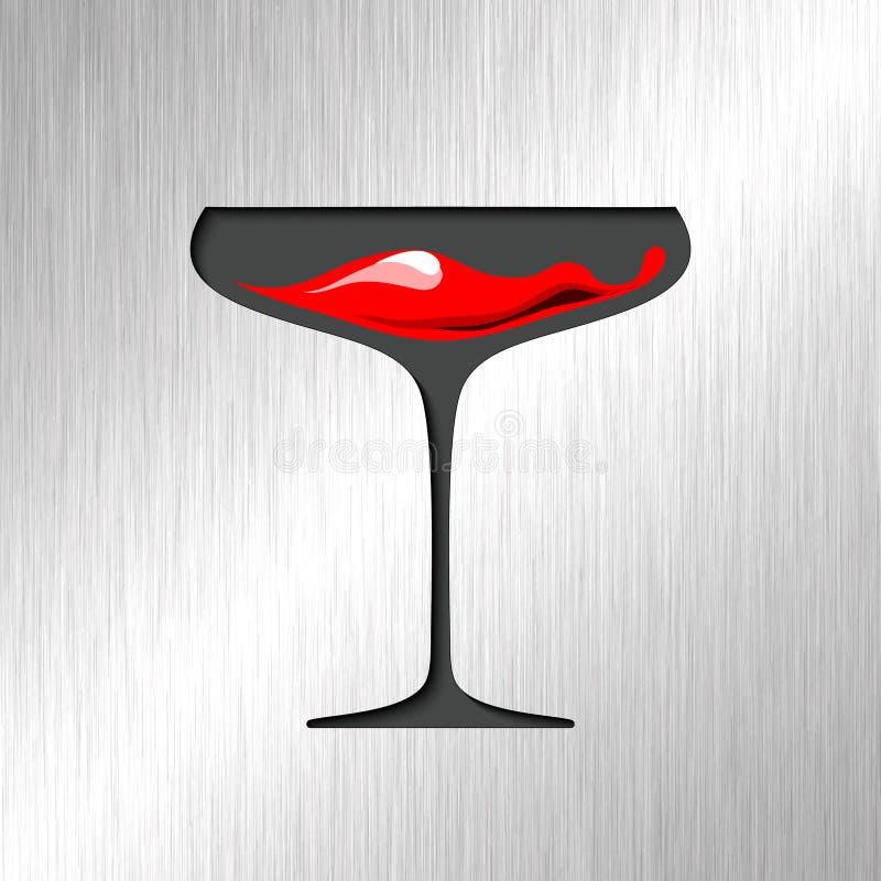 在玻璃的红色血液有不锈钢背景 库存例证