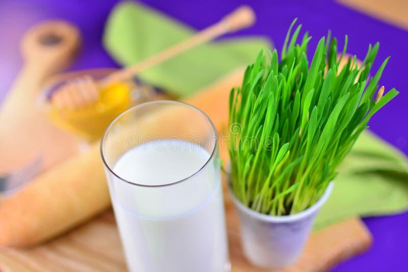 在玻璃的自然牛奶 免版税库存照片