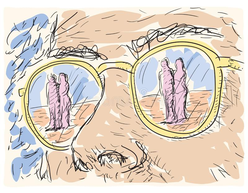 在玻璃的透镜反映的人 皇族释放例证