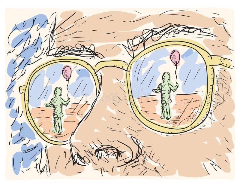 在玻璃的透镜反映的人 向量例证