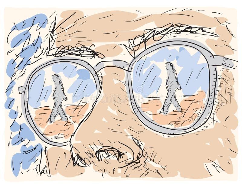 在玻璃的透镜反映的人 库存例证