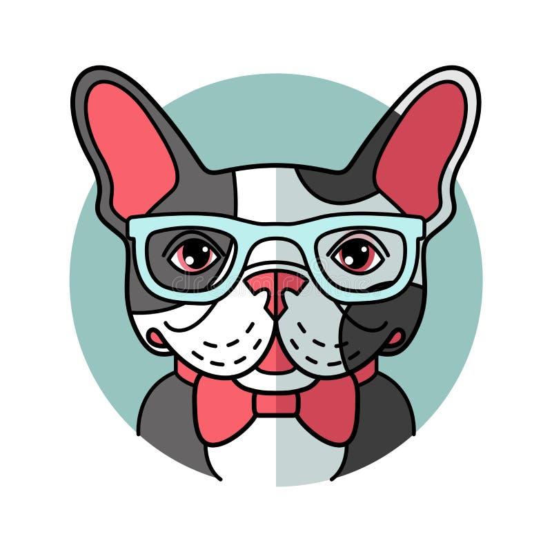 在玻璃的逗人喜爱的动画片牛头犬 库存例证