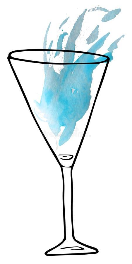在玻璃的酒精饮料-剪影和艺术样式 r 库存例证