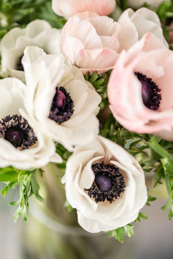 在玻璃花瓶的桃红色和白色银莲花属 束淡色 一个卖花人的概念花店的 墙纸 库存照片