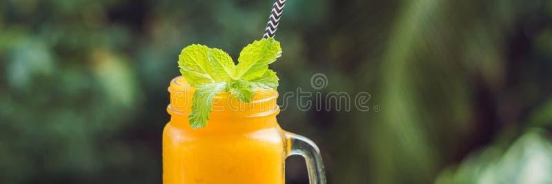 在玻璃金属螺盖玻璃瓶和芒果的芒果圆滑的人在绿色背景 芒果震动 热带水果概念横幅,长的格式 免版税库存照片