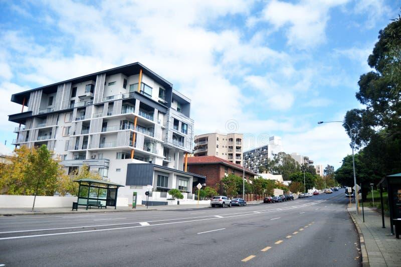 在珀斯,澳大利亚交易路和澳大利亚人民走的besign路 免版税图库摄影