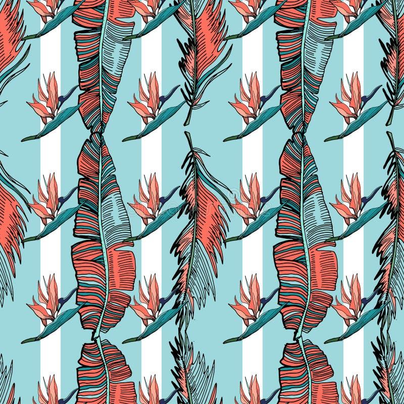 在珊瑚棕榈叶的无缝的热带样式 向量例证