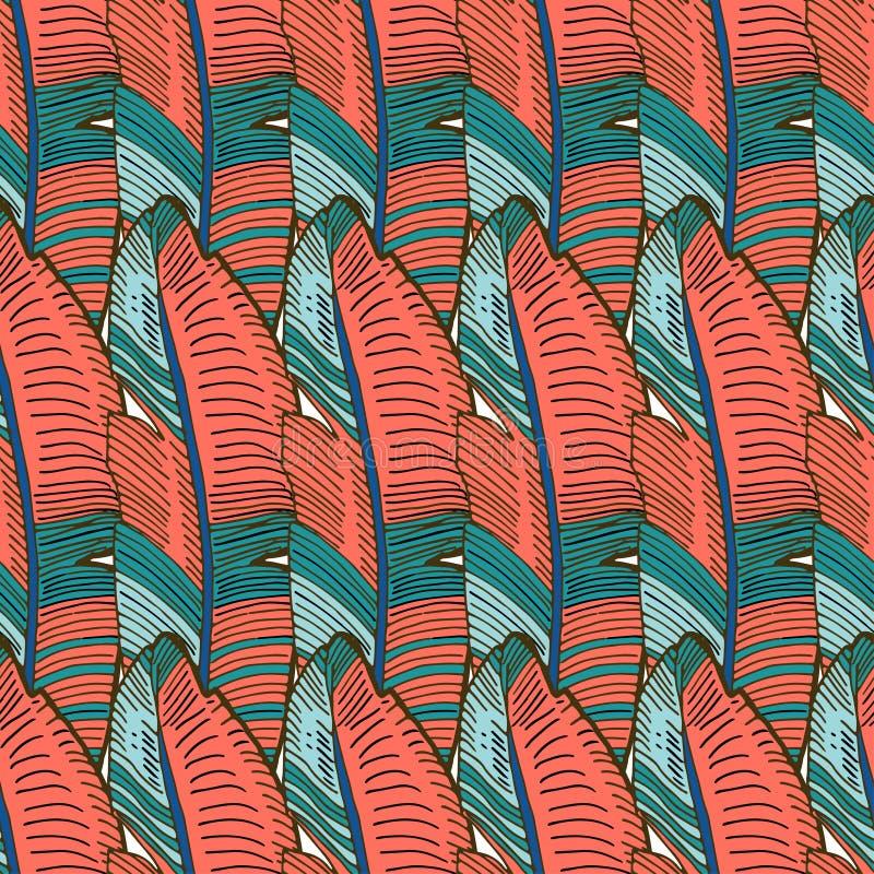 在珊瑚香蕉棕榈叶的无缝的热带样式 纺织品的,墙纸,样式积土,盖子,表面热带背景 向量例证